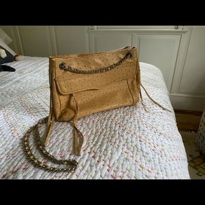 "Nude Leather ""Swing"" Chain Strap Evening Bag"